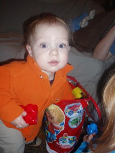 Wearing orange on his first birthday.